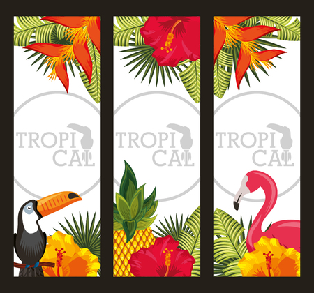 set tropical flower with leaves, birds animal. horizontal banners vector illustration