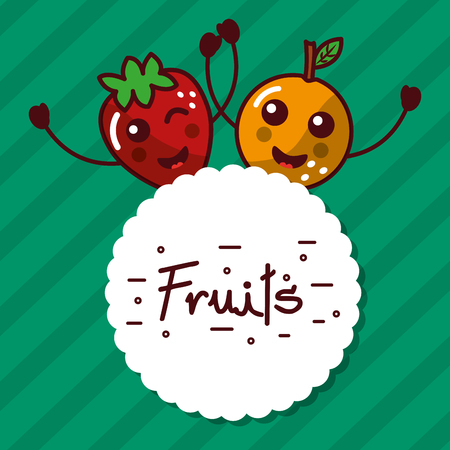 Kawaii cartoon fruits label vector illustration