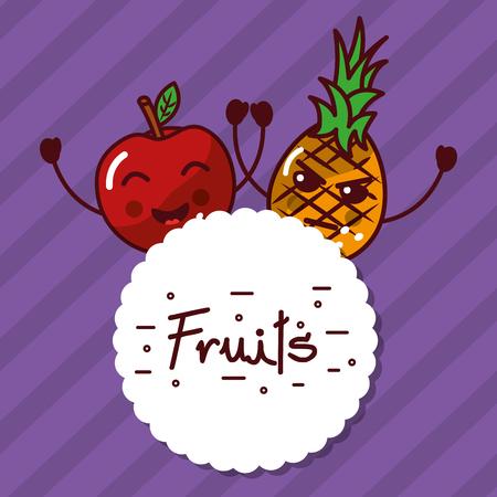 Kawaii apple pineapple cartoon fruits label vector illustration