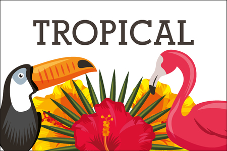 Tropical flamingo and toucan hibiscus frond vector illustration