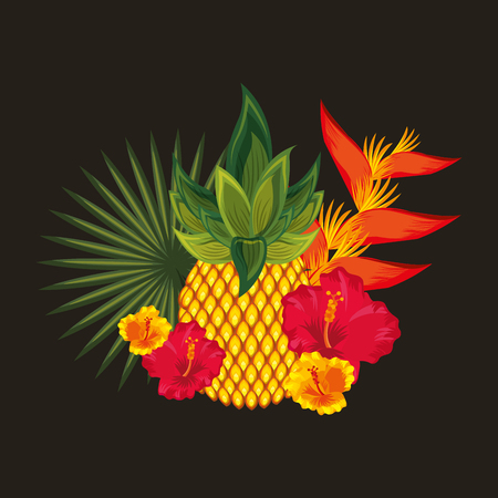 tropical flowers hibiscus bird of paradise pineapple fruit black background vector illustration