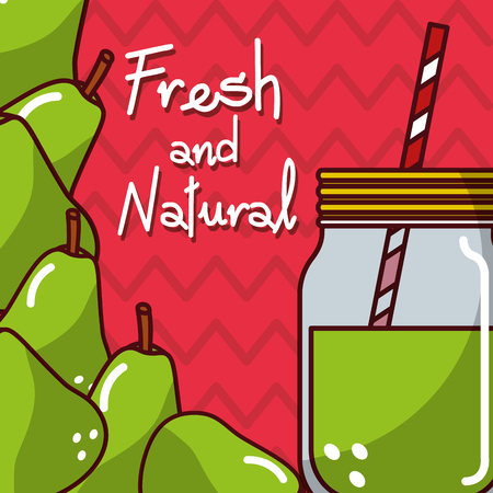 glassware jar juice pear fresh and natural vector illustration