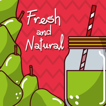 glassware jar juice pear fresh and natural vector illustration