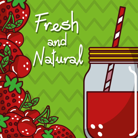 glassware jar juice cherry strawberry fruits fresh and natural vector illustration Stock Photo