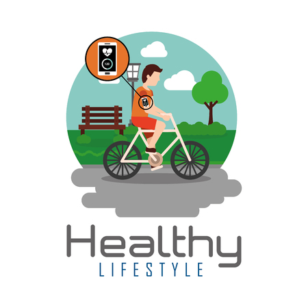 sport man riding bike in the park healthy lifestyle theme vector illustration