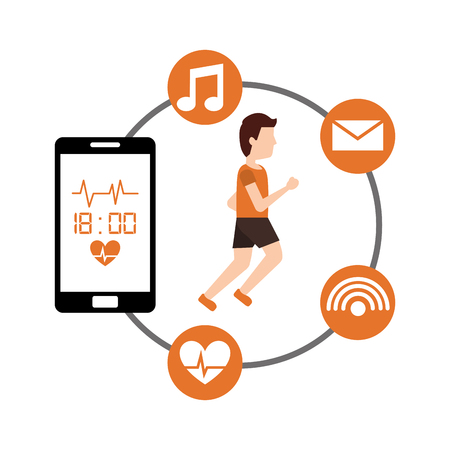 young man jogging and smartphone healthy smartphone app vector illustration Stock Photo