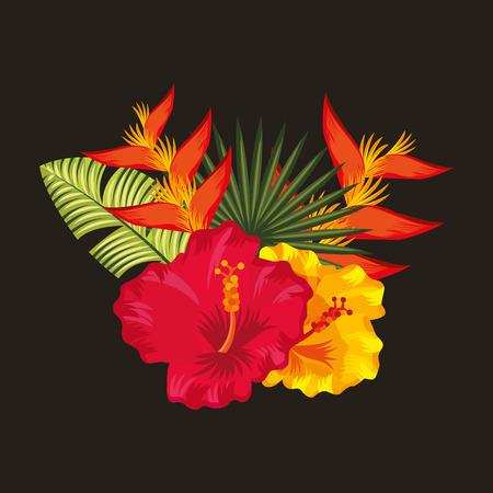 Tropische hibiscus paradijsvogel palmbladeren zwarte achtergrond vector illustratie Stockfoto - 96252136