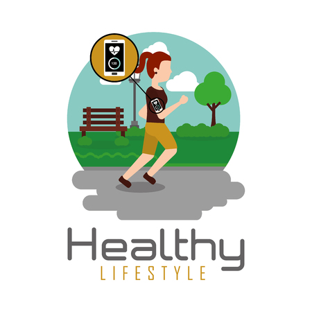 young woman jogging in the park healthy lifestyle theme vector illustration