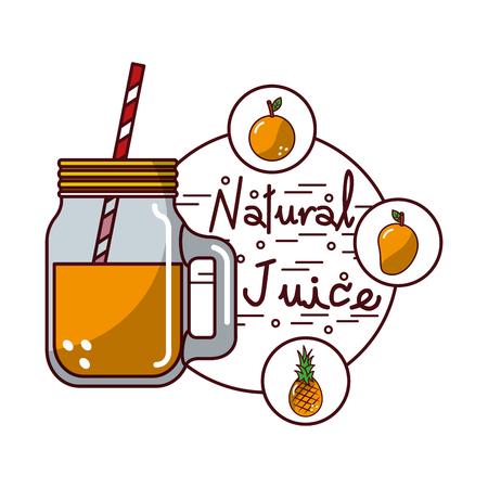orange pineapple mango fruit and glass jar natural juice vector illustration Stock fotó