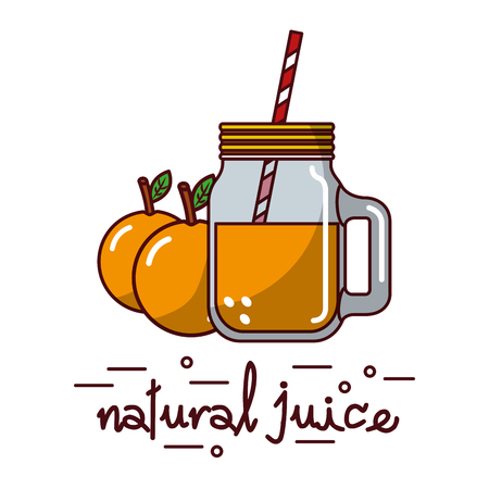 orange fruit and natural juice glass and straw vector illustration Stok Fotoğraf