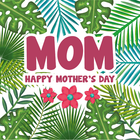 母亲节快乐的鲜花装饰矢量插图设计贺卡