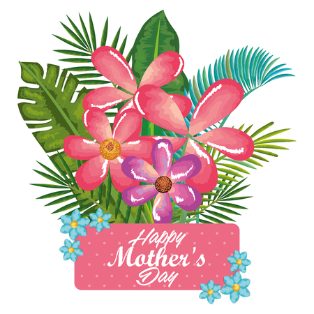 A happy mothers day card with floral decoration vector illustration design