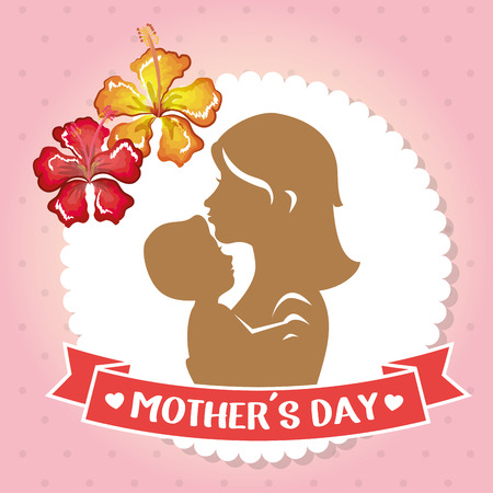happy mothers day card with mom and baby silhouette vector illustration design Stock Photo