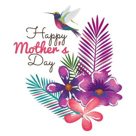 happy mothers day card with hummingbird and floral decoration vector illustration 写真素材