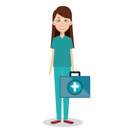 Female doctor with medical kit vector illustration design