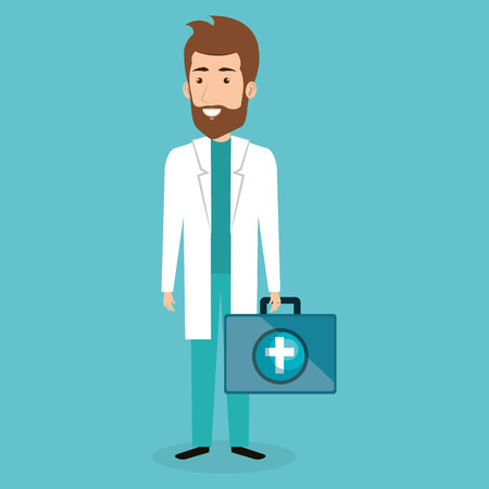 Male doctor with medical kit vector illustration design