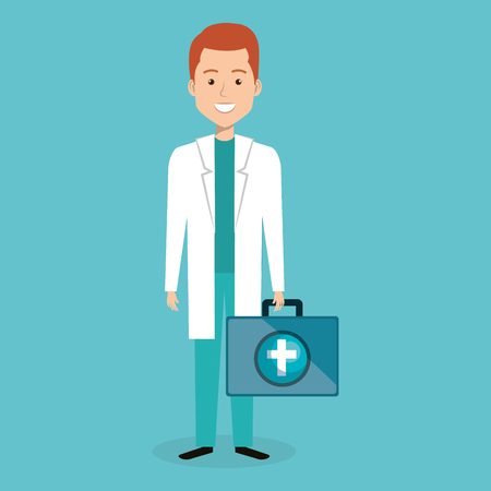 male doctor with medical kit vector illustration design Illustration