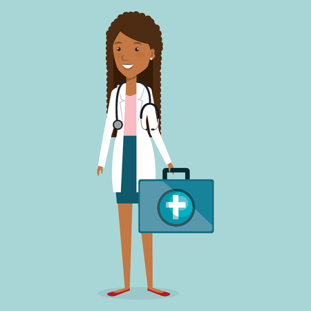 female doctor with medical kit vector illustration design