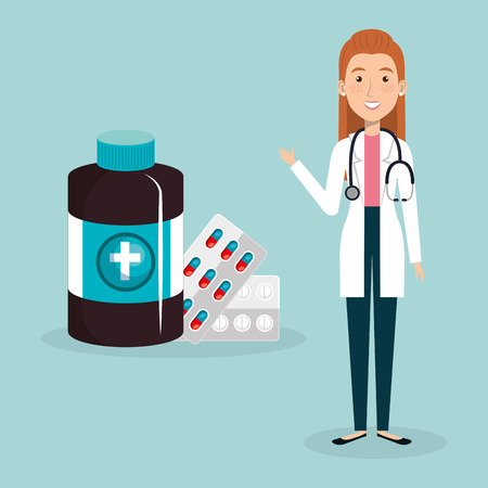 female doctor with medical icons vector illustration design Imagens