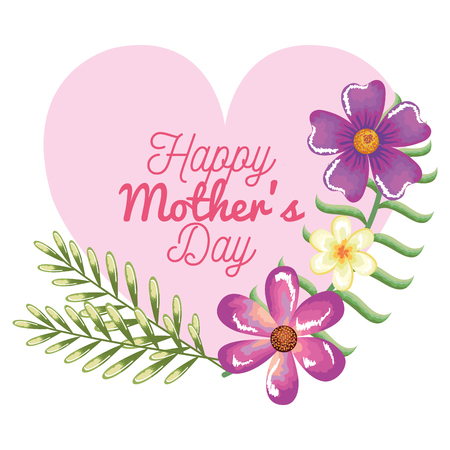 happy mothers day card with heart and floral decoration vector illustration design