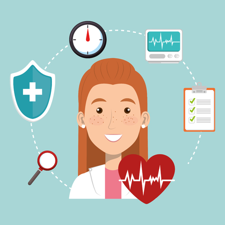 female doctor with medical icons vector illustration design Stock Photo