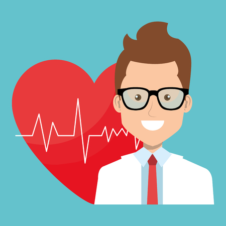 male doctor with heart cardio vector illustration design 向量圖像