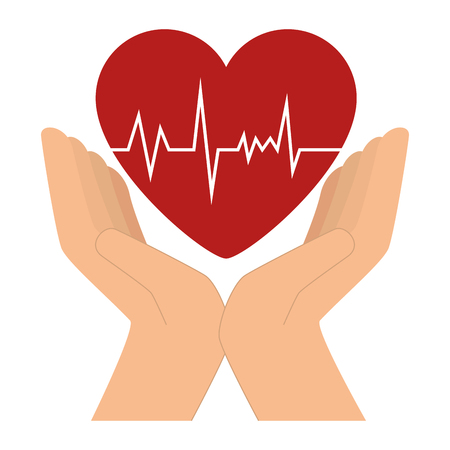 hands with heart cardio icon vector illustration design Stock Illustration - 96252235