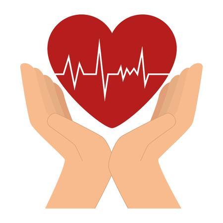 Mains avec coeur cardio icône vecteur illustration design Banque d'images - 96252235