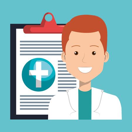 male doctor with medical order vector illustration design Stockfoto