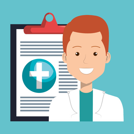 male doctor with medical order vector illustration design Stock Photo