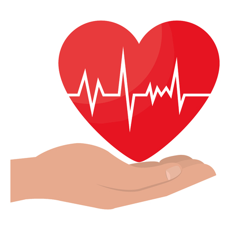 hands with heart cardio icon vector illustration design