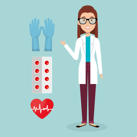 female doctor with medical icons vector illustration design Stockfoto