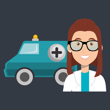 female doctor with ambulance vector illustration design