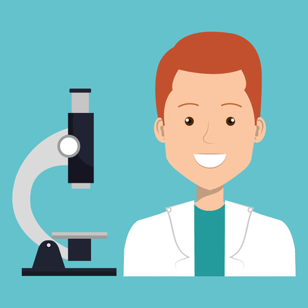 male doctor with microscope vector illustration design
