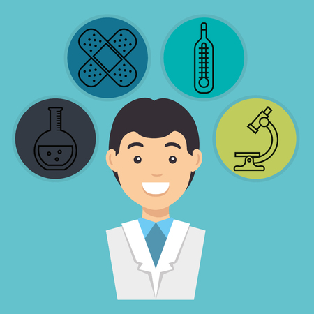 male doctor with medical icons vector illustration design Banco de Imagens