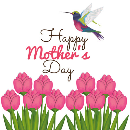 happy mothers day card with hummingbird and floral decoration vector illustration Zdjęcie Seryjne