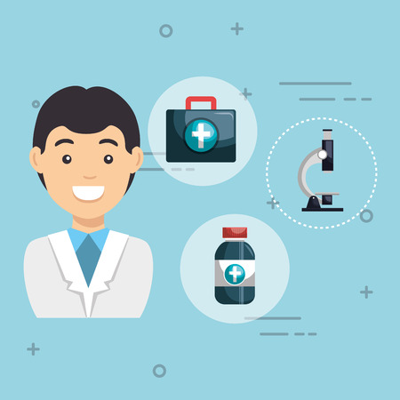 Male doctor with medical icons vector illustration design. Illustration