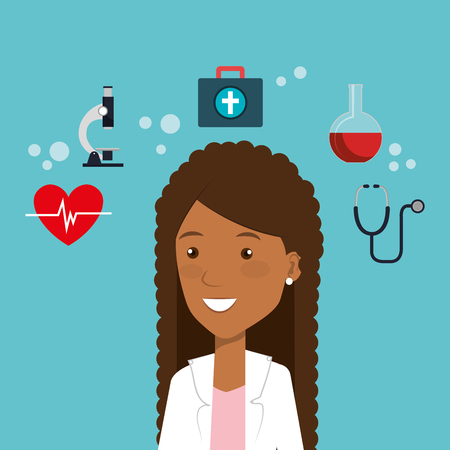 Female doctor with medical icons vector illustration design.