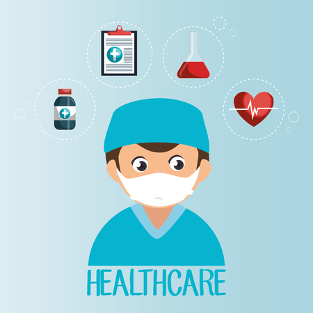 male doctor with medical icons vector illustration design Illustration