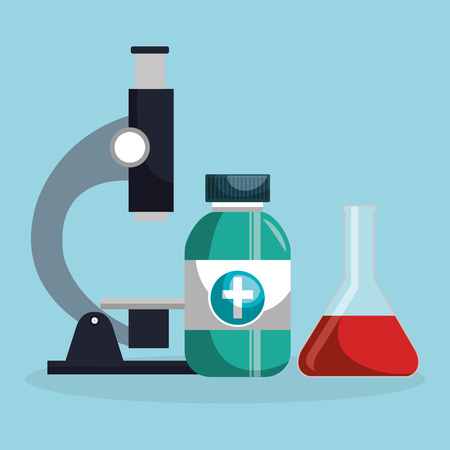 Microscope with medical icons vector illustration design