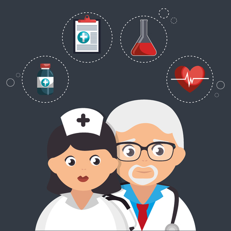 couple doctors with medical icons vector illustration design