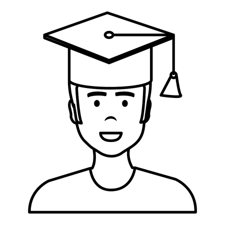 Graduated with hat avatar character vector illustration design Illusztráció