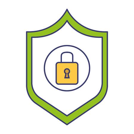 shield with safe secure padlock vector illustration design Ilustração