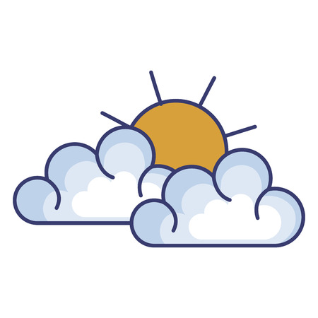 cloud with sun silhouette isolated icon vector illustration design