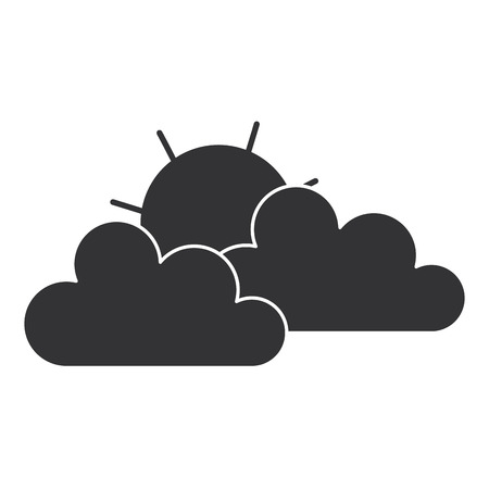 Cloud with sun silhouette isolated icon vector illustration design.