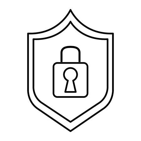 Shield with safe secure padlock vector illustration design.