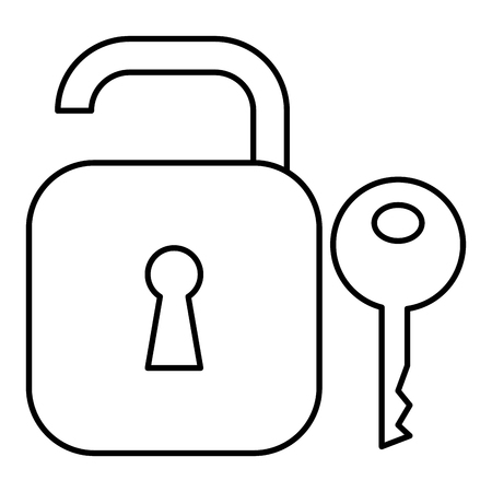 Safe secure padlock with key vector illustration design. Фото со стока - 96360714