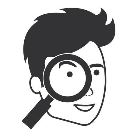 homme avec loupe conception vecteur illustration Vecteurs