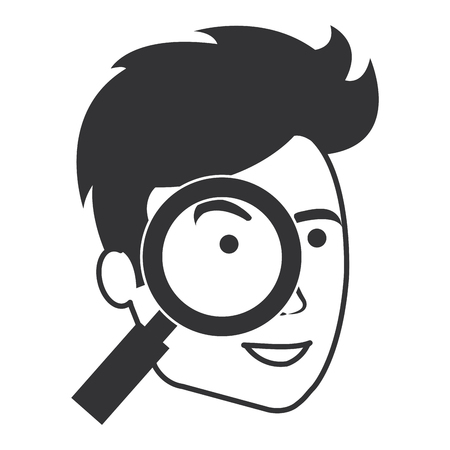 Man with magnifying glass vector illustration design.