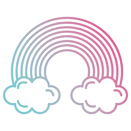 cute rainbown with clouds vector illustration design